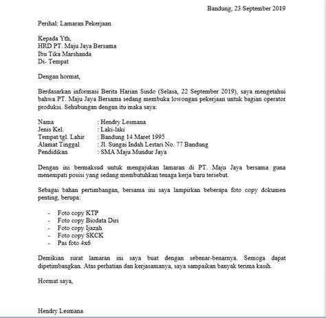 contoh surat lamaran kerja  pt sebagai karyawan