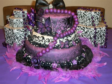 Purple And Black Birthday Cake