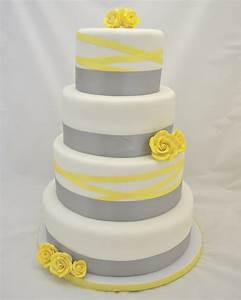 Grey And Yellow Ribbon Wedding Cake - CakeCentral com