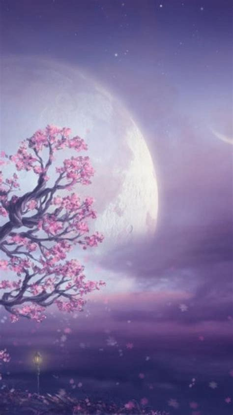 landscapes nature trees pink moon fantasy art wallpaper