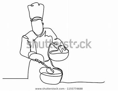 Line Drawing Continuous Cooking Chef Vector Cook