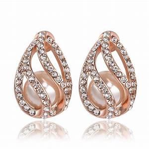 Fashion Earring!18k Rose Gold Plated Diamond Earrings for ...