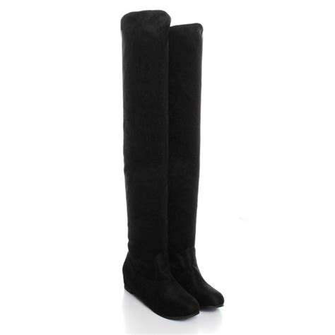 women flat bottom boots shoes   knee high suede