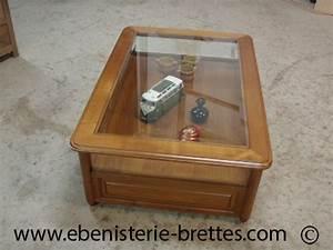 Verre Sur Mesure Pour Table : mobilier de salon avec vitrine et tiroirs en merisier sur ~ Dailycaller-alerts.com Idées de Décoration