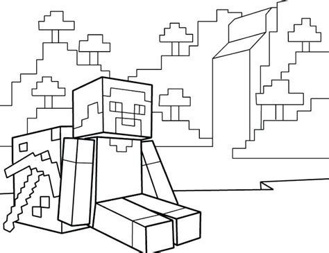 Kleurplaten Minecraft Enderman.Minecraft People Free Coloring Pages
