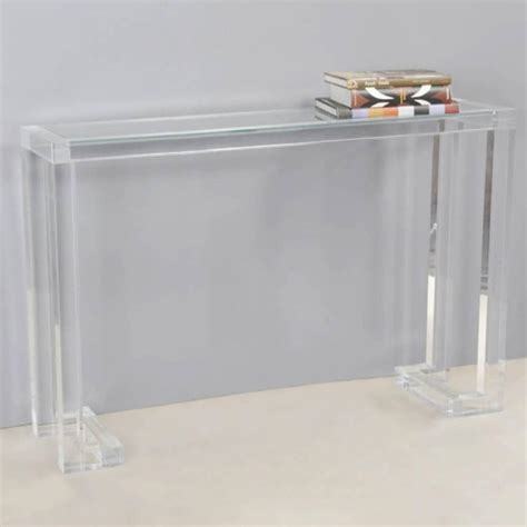 ava lucite console table  glass top  sale  stdibs