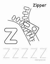 Coloring Alphabet Letter Zipper Worksheet Preschool Tracing Worksheets Writing Activities Sheet Crafts Sheets Kindergarten Letters Practice Arts Children Words Cleverlearner sketch template