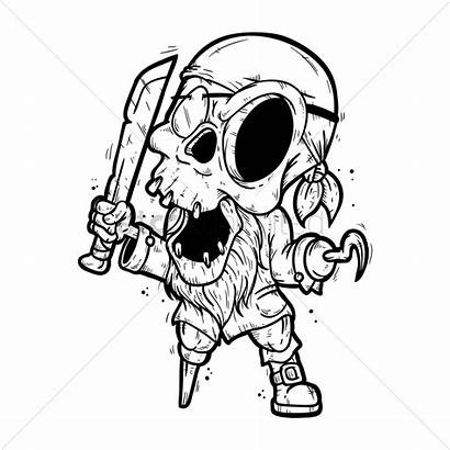 Skeleton Coloring Minecraft Pirate Pages Vector Head