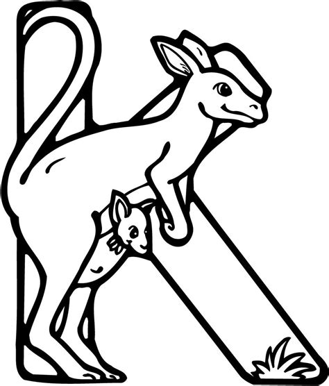 colouring page   letter   kangaroo coloring point