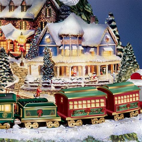 animated christmas village with train hawthorne kinkade express animated tabletop tree with