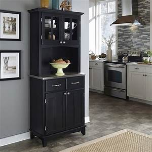 Shop Home Styles Black/Stainless Steel Kitchen Hutch at