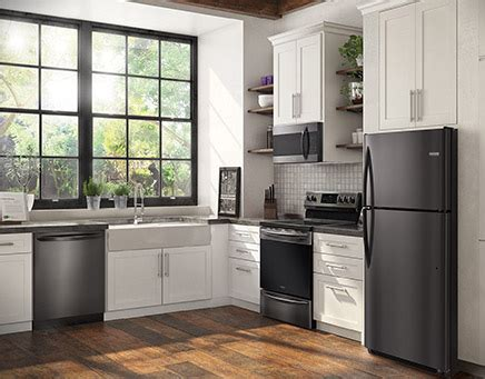 black kitchen cabinets with stainless steel appliances frigidaire gallery black stainless steel appliances 9767