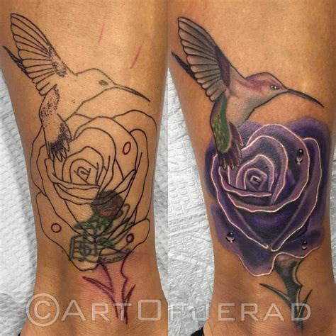 Hummingbird Cover Up Tattoo by Rose Cover Up With Hummingbird On Ankle Tattoos