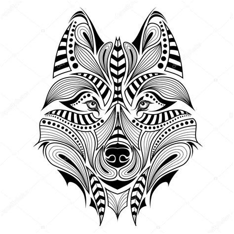 Cabeza Color Con Motivos Del Lobo Frica Indio Totem