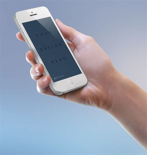 hand holding white iphone mockup  psd file