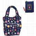 〔小禮堂〕Hello Kitty Vivitix 可折疊尼龍環保購物袋《深藍》環保袋.手提袋 - 小禮堂卡通百貨