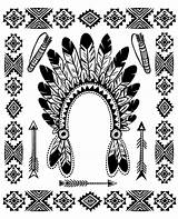 Native Coloring Indian American Pages Headdress Chief Adults Americans Indians Patterns Traditional Feather Adult Printable Justcolor Template Hat Objects Books sketch template