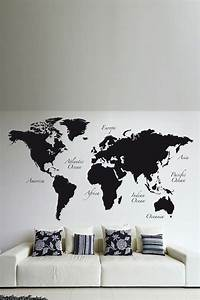 31 cool travel themed home decor ideas to rock digsdigs With kitchen colors with white cabinets with world map wall stickers vinyl art decals