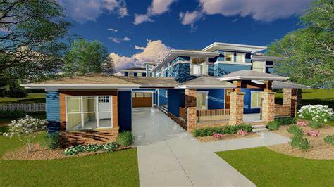 Prairie Style House Plan With Porte Cochere