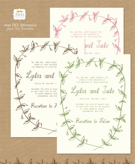 free wedding invitation sles 10 free printable wedding invitations diy wedding