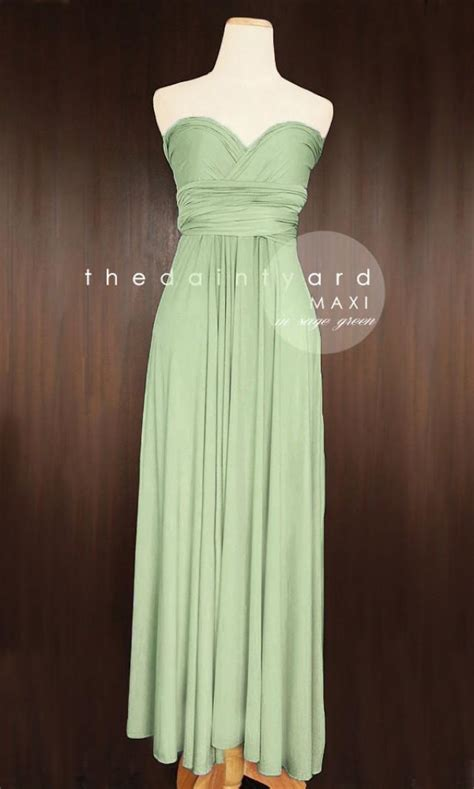 maxi sage green bridesmaid dress convertible dress
