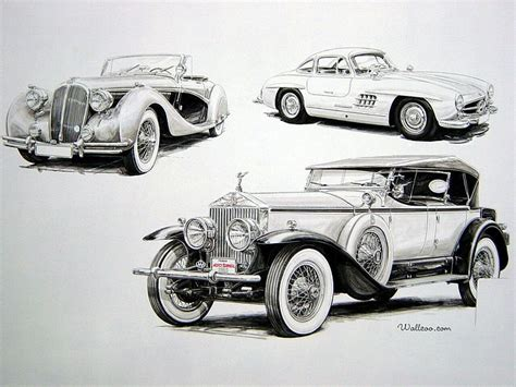 Rolls Royce Antique Cars, Antique Cars Drawings 21
