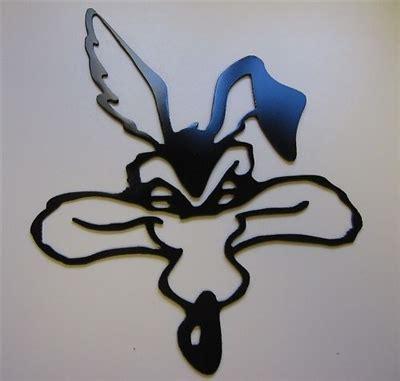 wile  coyote head metal wall art