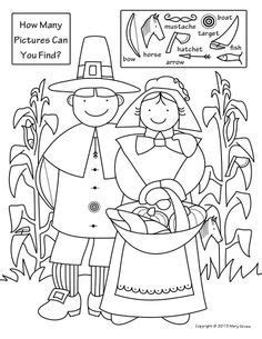 coloring page  hidden picture puzzle  thanksgiving