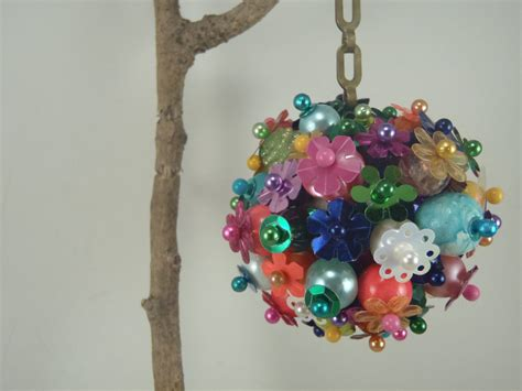 funky beaded christmas ornament multi colored hanging