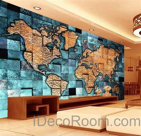 blue ocean abstract world map wallpaper wall decals