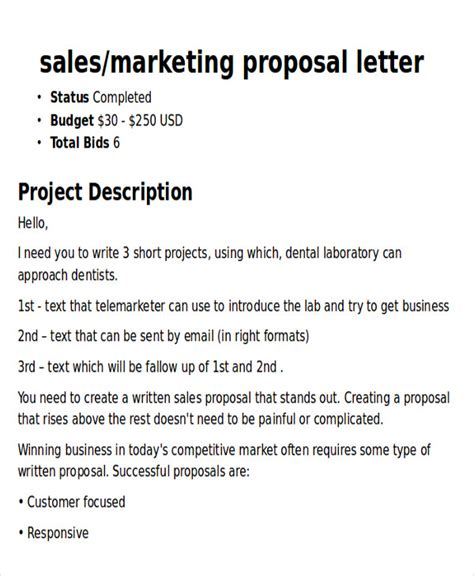 sample marketing proposal letter  examples   word