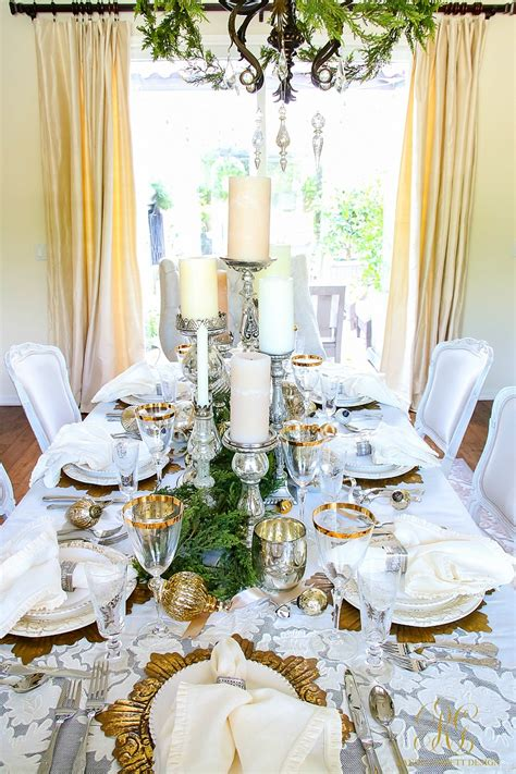 mercury glass votives white and gold dining room and table scape