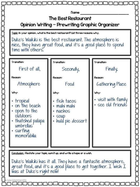 opinion writing restaurant common cores  opinion writing