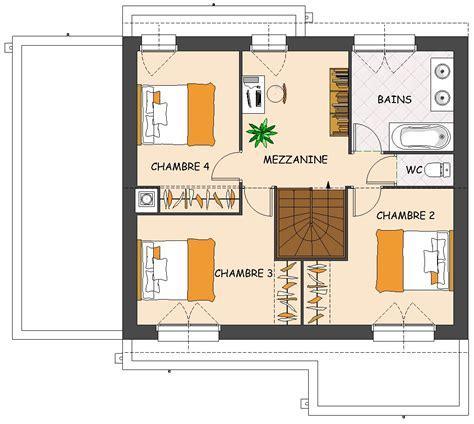 plan maison 3 chambres etage plan maison etage 4 chambres gratuit plan habill rdc