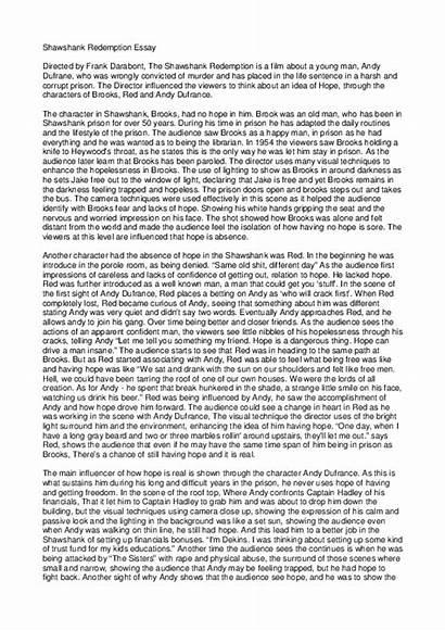 Hope Essay Shawshank Academia Google