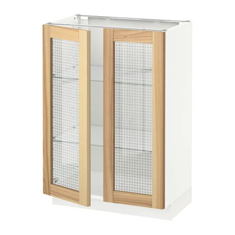 kitchen base cabinets with glass doors metod base cabinet with 2 glass doors white 60x37x80 cm