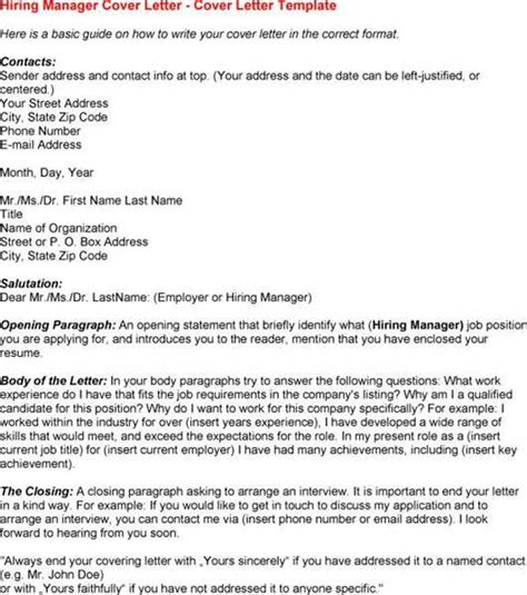 sle cover letter hiring manager sle letters