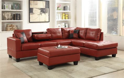 red faux leather sectional  red sectional sofas