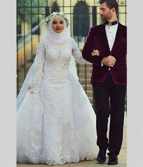 arab hijab saudi arabia muslim wedding dresses long sleeve