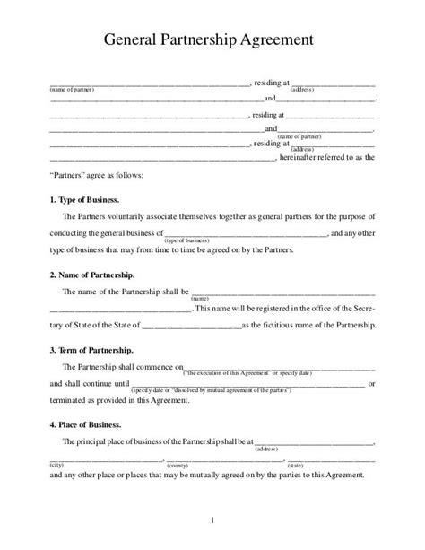 printable sample partnership agreement form real estate