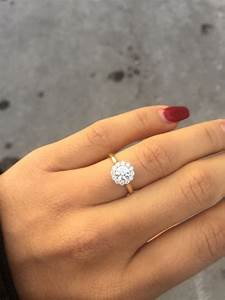 round halo engagement rings on hand wwwpixsharkcom With 1 carat wedding ring