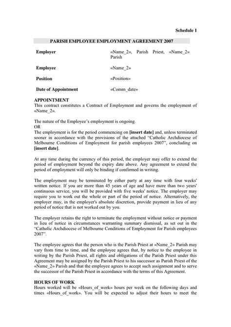 employment agreement sample  word   formats