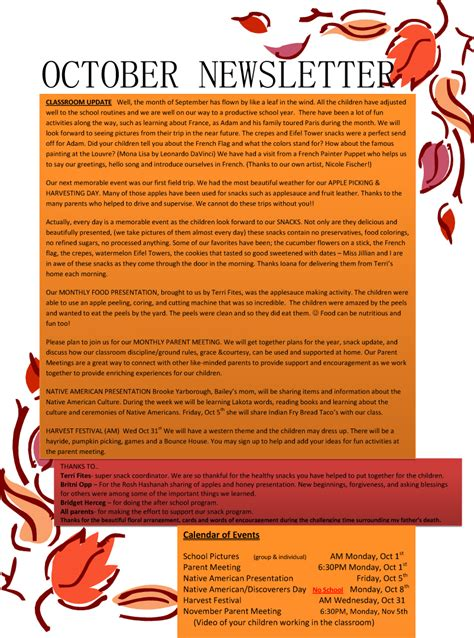 october newsletter ideas october newsletter montessori school of aberdeen sd
