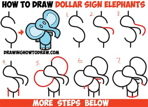 draw cartoon elephant   dollar sign easy