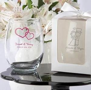 personalized stemless wine glass wedding bridal shower With wedding glass favors wholesale