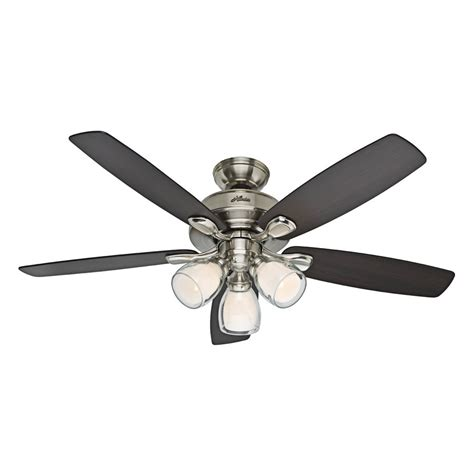 lowes ceiling fan light kit hunter 52 in meridale brushed nickel ceiling fan with