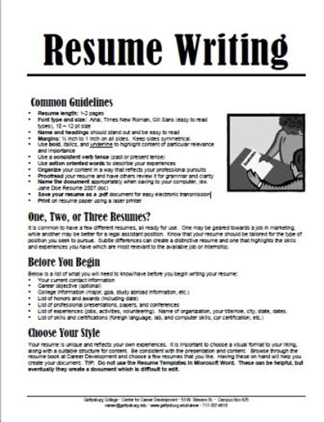 Tips For Writing A Resume For College Students by Gettysburg College Resume Writing