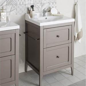 Meuble Salle De Bain Marron : meuble de salle de bains de 60 79 brun marron ashley leroy merlin ~ Melissatoandfro.com Idées de Décoration