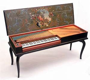 Clavichord. Produces sound by striking brass or iron ...
