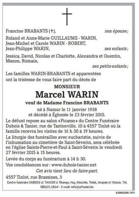 avis de d 233 c 232 s monsieur marcel warin de nandrin nandrin
